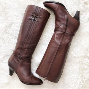 Frye Tina Tall Pleated Leather High Heel Boots 9